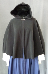 Cloak:2250, Cloak Style:Shaped Shoulder, Cloak Color:Black, Fiber / Weave:WindPro Fleece, Cloak Clasp:Plain Rope<br>Hook & Eye, Hood Lining:Self-lining, Back Length:27&quot;, Neck Length:19&quot;, Seasons:Winter, Fall, Spring.