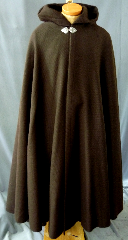 Cloak:2251, Cloak Style:Full Circle Cloak, Cloak Color:Brown, Fiber / Weave:100% Wool, Cloak Clasp:Triple Medallion, Hood Lining:Unlined, Back Length:55&quot;, Neck Length:22&quot;, Seasons:Winter, Fall, Spring, Note:This dark brown cloak is made of 100% wool basket weave fabric woven from chunky yarns.<br>  The brown is slightly heathered with gray. The generous full hood<br> is unlined, making it great for early period re-enactment..