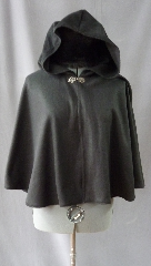 "Cloak:2254, Cloak Style:Full Circle Short Cloak, Cloak Color:Black, Fiber / Weave:Fleece, Cloak Clasp:Antiquity, Hood Lining:Unlined, Back Length:23"", Neck Length:21"", Seasons:Spring, Fall, Summer."