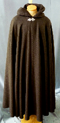 Cloak:2255, Cloak Style:Full Circle Cloak, Cloak Color:Brown, Fiber / Weave:100% Wool, Cloak Clasp:Triple Medallion, Hood Lining:Unlined, Back Length:55&quot;, Neck Length:22&quot;, Seasons:Winter, Fall, Spring, Note:This dark brown cloak is made of 100% wool basket weave fabric woven from chunky yarns.<br>  The brown is slightly heathered with gray. The generous full hood<br> is unlined, making it great for early period re-enactment..