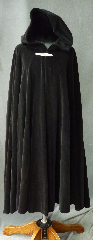 Cloak:2261, Cloak Style:Full Circle Cloak, Cloak Color:Black, Fiber / Weave:Cotton Velvet, washed, Cloak Clasp:Viking Bar, Hood Lining:Unlined, Back Length:46.5&quot;, Neck Length:22&quot;, Seasons:Winter, Fall, Spring, Note:This cloak was created from thick rich<br>washed cotton upholstery velvet.<br>Thicker than many wool coatings,<br>this velvet cloak provides significant warmth and wind resistance.<br> A pewter Viking Bar clasp provides the finishing touch.<br>Machine wash low, gentle, tumble dry low..