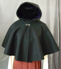 Cloak:2269, Cloak Style:Full Circle Short Cloak, Cloak Color:Black, Fiber / Weave:Heavy Felted Wool Melton (super soft), Cloak Clasp:Plain Rope<br>Hook & Eye, Hood Lining:Purple Silk Velvet, Back Length:20&quot;, Neck Length:18.5&quot;, Seasons:Winter, Fall, Spring.