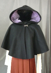 Cloak:2275, Cloak Style:Full Circle Short Cloak, Cloak Color:Black, Fiber / Weave:Heavy Felted Wool Melton (super soft), Cloak Clasp:Plain Rope<br>Hook & Eye, Hood Lining:Lavendar Velvet, Back Length:20&quot;, Neck Length:19.5&quot;, Seasons:Winter, Fall, Spring.