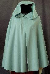 "Cloak:2280, Cloak Style:Full Circle Short Cloak, Cloak Color:Minty Foam Green, Fiber / Weave:Wool Gabardine, Cloak Clasp:Scallop, Hood Lining:Unlined, Back Length:32.5"", Neck Length:21"", Seasons:Spring, Summer, Fall."