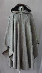 "Cloak:2284, Cloak Style:Cape / Ruana, Cloak Color:Heathered Grey, Fiber / Weave:Brushed Long Pile Wool, medium weight, Cloak Clasp:Antiquity, Hood Lining:Black Silk Velvet, Back Length:44.5"", Neck Length:23"", Seasons:Spring, Fall, Southern Winter."