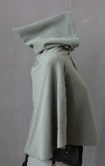 Cloak:2289, Cloak Style:Fuller Half Circle Short, Cloak Color:Grey, Fiber / Weave:Polartec Windpro microfleece, Cloak Clasp:Plain Rope<br>Hook & Eye, Hood Lining:Unlined, Back Length:21&quot;, Neck Length:18&quot;, Seasons:Fall, Spring, Note:Soft and machine washable, this tiny fleece cloak<br>is made of a water-resistant technical fabric<br>to keep your toddler warm and dry..
