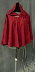 Cloak:2290, Cloak Style:Full Circle Short Cloak, Cloak Color:Rusty red with a slight grey heather., Fiber / Weave:Wool gabardine with a bit of lycra, Cloak Clasp:Bavarian - Silvertone, Hood Lining:Unlined, Back Length:28&quot;, Neck Length:23&quot;, Seasons:Spring, Fall, Summer, Note:This soft and fluid washable wool blend cloak is great for warmer days<br> and climates. Closes with a pewter Bavarian hook-and-eye clasp..