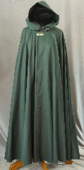 Cloak:2297, Cloak Style:Full Circle Cloak, Cloak Color:Hunter Green, Fiber / Weave:Cotton Twill, Cloak Clasp:Vale - Goldtone, Hood Lining:Unlined, Back Length:53&quot;, Neck Length:23&quot;, Seasons:Spring, Fall, Note:To preserve the deep hunter green color, this cloak has NOT been washed.<br>We recommend dry cleaning..