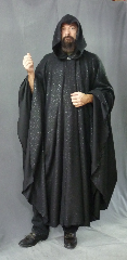 Cloak:3333, Cloak Style:Full Circle Cloak, Cloak Color:Black with Sparkles, Fiber / Weave:85% polyester 15% nylon, Cloak Clasp:Vale, Hood Lining:Unlined, Back Length:49&quot;, Neck Length:23&quot;, Seasons:Summer, Fall, Spring, Note:Easy care washable plus acrylic flannel<br>makes this cloak an easy choice<br>and elegant for a little extra warmth<br>on a spring evening.<br>It has just a bit of sparkle woven in.<br>Great for a day at the Renaissance Fair<br>or a weekend LARP.<br>Machine washable cold gentle, tumble dry low.<br>Throw it on and go!.