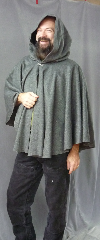 Cloak:2307, Cloak Style:Full Circle Short Cloak, Cloak Color:Heather Grey, Fiber / Weave:Brushed Wool Suiting, Cloak Clasp:Plain Rope<br>Hook & Eye, Hood Lining:Black Leaf Embossed Moleskin, Back Length:29&quot;, Neck Length:23&quot;, Seasons:Spring, Summer, Fall.