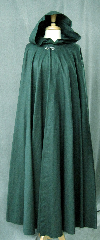 Cloak:2310, Cloak Style:Full Circle Cloak, Cloak Color:Hunter Green, Fiber / Weave:Cotton Twill, Cloak Clasp:Antiquity, Hood Lining:Unlined, Back Length:54&#039;, Neck Length:22&quot;, Seasons:Spring, Fall, Note:To preserve the deep hunter green color, this cloak has NOT been washed.<br>We recommend dry cleaning..