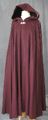 "Cloak:2316, Cloak Style:Full Circle Cloak, Cloak Color:Burgundy, Fiber / Weave:100% camel hair, Cloak Clasp:Vale - Goldtone, Hood Lining:Black Silk Velvet, Back Length:54', Neck Length:24"", Seasons:Fall, Spring."