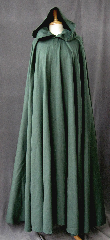 "Cloak:2325, Cloak Style:Full Circle Cloak, Cloak Color:Seafoam Green, Fiber / Weave:Washed Cotton Twill, Cloak Clasp:Vale, Hood Lining:Unlined, Back Length:57"", Neck Length:22"", Seasons:Summer, Spring, Fall."