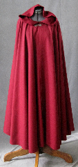 "Cloak:2344, Cloak Style:Full Circle Cloak, Cloak Color:Dark Red, Fiber / Weave:Wool, Cloak Clasp:Antiquity, Hood Lining:Unlined, Back Length:48"", Neck Length:23"", Seasons:Fall, Spring."