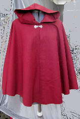 Cloak:2347, Cloak Style:Full Circle Short Cloak, Cloak Color:Dark Red, Maroon, Fiber / Weave:Wool Gabardine, Cloak Clasp:Gothic Round, Hood Lining:Unlined, Back Length:27.5&quot;, Neck Length:21&quot;, Seasons:Fall, Spring, Note:This full circle short cloak<br>is perfect for a child..
