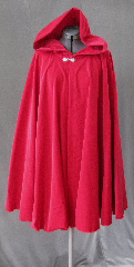 "Cloak:2351, Cloak Style:Full Circle Short Cloak, Cloak Color:American Beauty Rose Red, Fiber / Weave:Washed Cotton Velveteen, Cloak Clasp:Gothic Round, Hood Lining:Unlined, Back Length:36"", Neck Length:22"", Seasons:Summer, Fall, Spring."