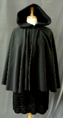 Cloak:2363, Cloak Style:Full Circle Short Cloak, Cloak Color:Very Dark Grey, Fiber / Weave:WindPro Fleece, Cloak Clasp:Plain Rope<br>Hook & Eye, Hood Lining:Self-lining, Back Length:28&quot;, Neck Length:23&quot;, Seasons:Winter, Fall, Spring, Note:This cloak is listed on sale due to surface flaws in the lining.<br>They will NOT affect appearance or wear of cloak. Please call us for details.