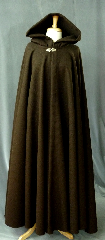 Cloak:2367, Cloak Style:Full Circle Cloak, Cloak Color:Brown, Fiber / Weave:100% Wool, Cloak Clasp:Vale - Goldtone, Hood Lining:Unlined, Back Length:58&quot;, Neck Length:25&quot;, Seasons:Winter, Fall, Spring, Note:This dark brown cloak is made of 100% wool<br>basket weave fabric woven from chunky yarns.<br>The brown is slightly heathered with gray. The generous full hood<br>is unlined, making it great for early period re-enactment.<br>Finished with a vale goldtone plated hook & eye clasp that is safe to dry clean..