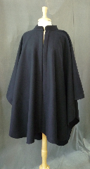Cloak:2380, Cloak Style:Cape / Ruana with Collar, Cloak Color:Navy Blue, Fiber / Weave:80% Wool/ 20% Nylon Wide Herringbone tone on tone pattern, Cloak Clasp:Triple Medallion, Hood Lining:N/A, Back Length:40&quot;, Neck Length:21.5&quot;, Seasons:Winter, Fall, Spring, Note:A cross between a cape and a cloak, a ruana<br>is a great way to keep warm when<br>frequent, unhindered use of your arms is needed..