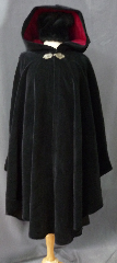 Cloak:2391, Cloak Style:Cape / Ruana, Cloak Color:Black, Fiber / Weave:Cotton Velvet, washed, Cloak Clasp:Shadbury Leaf - Silvertone, Hood Lining:Burgundy Cotton Velveteen, Back Length:45&quot;, Neck Length:21&quot;, Seasons:Winter, Fall, Spring, Note:This cloak was created from thick rich<br>washed cotton upholstery velvet.<br>Thicker than many wool coatings,<br>this velvet cloak provides significant warmth and wind resistance.<br> A pewter Triple Medallion clasp provides the finishing touch.<br>Machine wash low, gentle, tumble dry low..
