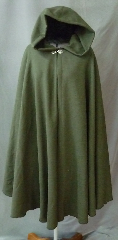 Cloak:2397, Cloak Style:Full Circle Cloak, Cloak Color:Loden Green, Fiber / Weave:Washed Jacquard Worsted Wool, Cloak Clasp:Antiquity, Hood Lining:Unlined, Back Length:40&quot;, Neck Length:21&quot;, Seasons:Spring, Fall, Note:Shorter length lightweight cloak in a &nbsp;bird&#039;s eye wool<br>patterned in green & black.<br>It &nbsp;features an unlined full-sized hood.<br>This wool has been washed and can<br>continue to be washed gently in cold water..