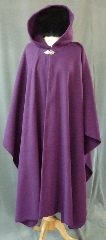 Cloak:2404, Cloak Style:Cape / Ruana, Cloak Color:Rich Plum Purple, Fiber / Weave:Pill resistant mid weight fleece, Cloak Clasp:Vale, Hood Lining:Self-lining, Back Length:49.5&quot;, Neck Length:23.5&quot;, Seasons:Fall, Spring, Southern Winter, Note:Midweight washable fleece provides a lightweight<br>warmth. &nbsp;Suitable for &nbsp;late spring, &nbsp;early fall<br>or cool summer evenings.<br>You can even wrap up in it to watch TV,<br>safe from the savage winter drafts!<br>A cross between a cape and a cloak,<br>a ruana is a great way to keep warm<br>when frequent, unhindered use of your arms is needed..