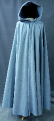 Cloak:2408, Cloak Style:Full Circle Cloak, Cloak Color:Pale Grey Blue, Fiber / Weave:Wool / nylon, Cloak Clasp:Vale, Hood Lining:Unlined, Back Length:55.5&quot;, Neck Length:23&quot;, Seasons:Spring, Fall, Note:A perfect blend of simplicity and elegance,<br>this full circle cloak is made of a 70% wool,<br>30 % nylon plush fabric in a subtle grey blue heather.<br>Finished with a pewter Renaissance Lotus Medallion<br>hook-and-eye clasp. &nbsp;Dry Clean..
