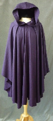 "Cloak:2412, Cloak Style:Cape / Ruana, Cloak Color:Dusty Dark Purple, Fiber / Weave:Wool Twill, Cloak Clasp:Antiquity, Hood Lining:Unlined, Back Length:40"", Neck Length:21"", Seasons:Summer, Spring, Fall."
