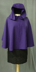 Cloak:2415, Cloak Style:Full Circle Short Cloak, Cloak Color:Vibrant Royal Purple, Fiber / Weave:Light Weight Wool Tricotene, Cloak Clasp:Alpine Knot - Silvertone, Hood Lining:Unlined, Back Length:18&quot;, Neck Length:18.5&quot;, Seasons:Summer, Spring, Fall, Note:This vibrant royal purple short full circle cloak<br>was created from a suiting fabric. The cloak<br>drapes beautifully, flows well, is wrinkle resistant<br>and provides warmth and wind resistance<br>suitable for cool spring and summer evenings..