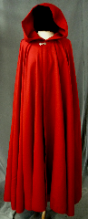 "Cloak:2418, Cloak Style:Full Circle Cloak, Cloak Color:Red, Fiber / Weave:Light weight wool gabardine, Cloak Clasp:Fleur de Lis, Hood Lining:Unlined, Back Length:51.5"", Neck Length:21"", Seasons:Summer, Spring, Fall."