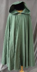 "Cloak:2421, Cloak Style:Full Circle Cloak, Cloak Color:Foam Green, Fiber / Weave:Cotton Twill with Lycra, Cloak Clasp:Vale - Goldtone, Hood Lining:Unlined, Back Length:49"", Neck Length:22"", Seasons:Spring, Fall."