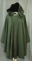 "Cloak:2428, Cloak Style:Cape / Ruana, Cloak Color:Dark Olive Green, Fiber / Weave:Worsted Wool, Cloak Clasp:Bavarian - Silvertone, Hood Lining:Unlined, Back Length:38.5"", Neck Length:21"", Seasons:Summer, Fall, Spring."