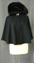 "Cloak:2436, Cloak Style:Full Circle Short Cloak, Cloak Color:Black, Fiber / Weave:Wool Melton, Cloak Clasp:Double Spiral, Hood Lining:Unlined, Back Length:25"", Neck Length:18"", Seasons:Winter, Fall, Spring."