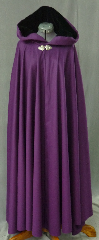 "Cloak:2441, Cloak Style:Full Circle Cloak, Cloak Color:Purple, Fiber / Weave:50% Cashmere, 50% Wool, Cloak Clasp:Triple Medallion, Hood Lining:Black Silk Velvet, Back Length:53"", Neck Length:21"", Seasons:Winter, Fall, Spring."