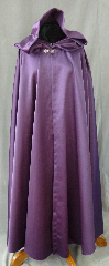 "Cloak:2446, Cloak Style:Full Circle Cloak, Cloak Color:Royal Purple, Fiber / Weave:Synthetic Matte Satin, Cloak Clasp:Antiquity, Hood Lining:Unlined, Back Length:54"", Neck Length:23"", Seasons:Fall, Spring, Summer."