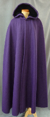 Cloak:2450, Cloak Style:Shaped Shoulder, Cloak Color:Purple, Fiber / Weave:Winter Weight Wool Melton, Cloak Clasp:Formal Renaissance Knotwork, Hood Lining:Black Silk Velvet in hood<br>and grape purple antique satin lining in shoulder<br>with hidden pockets, Back Length:56&quot;, Neck Length:22.5&quot;, Seasons:Winter, Fall, Spring, Note:This shaped cloak has a special shoulder lining<br>of grape purple antique satin.<br>It has pockets!.