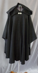 "Cloak:2459, Cloak Style:Cape / Ruana, Cloak Color:Black, Fiber / Weave:100% Wool Twill, Cloak Clasp:Pineapple, Hood Lining:Unlined, Back Length:39"", Neck Length:25"", Seasons:Spring, Fall, Summer."