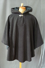 Cloak:2469, Cloak Style:Poncho / Ruana, Cloak Color:Black, Fiber / Weave:WindPro Fleece Hi Loft Shearling, Cloak Clasp:Vale, Hood Lining:Charcoal grey self-lined, Back Length:39&quot;, Neck Length:25&quot;, Seasons:Winter, Fall, Spring, Note:Luxurious, functional, and economically friendly!<br>This windpro poncho/ruana blocks more wind than<br>a basic fleece and has a water-repelling outer finish!<br>It&#039;s perfect for New England winters and cold,<br>rainy, windy climates.<br>The inside of the fabric wicks up moisture keeping<br>you dry and warm.<br>Machine washable cold gentle, tumble dry low.<br>Throw it on and go!.