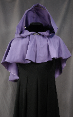 Cloak:2475, Cloak Style:Full Circle Short Cloak, Cloak Color:Lavender, Fiber / Weave:Peached Polyester Raincoat fabric, Cloak Clasp:Antiquity, Hood Lining:Unlined, Back Length:19.5&quot;, Neck Length:21&quot;, Seasons:Summer, Spring, Fall, Note:This short cloak is perfect for adding just<br>a touch of drama and elegance.<br>Made of a light weight Peached Polyester<br>Raincoat fabric that Sheds water!.