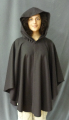 "Cloak:2477, Cloak Style:Cape / Ruana, Cloak Color:Expresso Brown, Fiber / Weave:Fine Merino Wool with Lycra, Hood Lining:Unlined, Back Length:35"", Neck Length:22"", Seasons:Spring, Fall, Note:Dry Clean only."