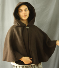 Cloak:2481, Cloak Style:Shaped Shoulder, Cloak Color:Brown, Fiber / Weave:100% Wool, Cloak Clasp:Plain Rope<br>Hook & Eye, Hood Lining:Unlined, Back Length:23&quot;, Neck Length:21&quot;, Seasons:Winter, Fall, Spring.