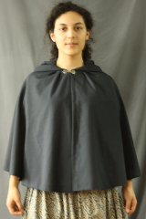 "Cloak:2482, Cloak Style:Fuller Half circle, Cloak Color:Midnight Blue, Fiber / Weave:Tropical Weight Wool suiting, Cloak Clasp:Alpine Knot - Silvertone, Hood Lining:Unlined, Back Length:24.5"", Neck Length:18.5"", Seasons:Summer, Fall, Spring."