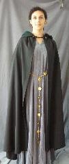 Cloak:2500, Cloak Style:True half circle, Cloak Color:Black, Fiber / Weave:Tropical Weight Wool suiting, Cloak Clasp:Braided Frog Button closure, Hood Lining:Pine Green cotton velveteen, Back Length:50&quot;/56&quot;, Neck Length:22&quot;, Seasons:Summer, Fall, Spring, Note:Show your costume off in style.<br>This  true half circle cloak measures<br>50&quot; in the front and 56&quot; in the back..