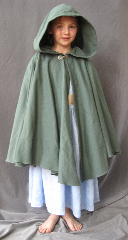 Cloak:2504, Cloak Style:Full Circle Short Cloak, Cloak Color:Sea Foam Green, Fiber / Weave:Cotton Twill with Lycra, Cloak Clasp:Alpine Knot - Silvertone, Hood Lining:Unlined, Back Length:27&quot;, Neck Length:19&quot;, Seasons:Spring, Fall, Note:This short cloak is a full circle.<br>The smaller neck makes this a good choice for a child or small person..