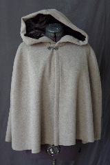 "Cloak:2510, Cloak Style:Shaped Shoulder, Cloak Color:Grey, Fiber / Weave:Mohair, Cloak Clasp:Antiquity, Hood Lining:Off-black Rayon Velvet, Back Length:23"", Neck Length:19"", Seasons:Winter, Fall, Spring."