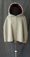Cloak:2516, Cloak Style:Shaped Shoulder, Cloak Color:Grey, Fiber / Weave:Mohair, Cloak Clasp:Plain Rope<br>Hook & Eye, Hood Lining:Dusty Dark Rose Cotton Velvet, Back Length:24&quot;, Neck Length:24&quot;, Seasons:Winter, Fall, Spring.