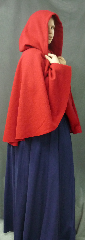 Cloak:2547, Cloak Style:Full Circle Short Cloak, Cloak Color:Madder Red, Fiber / Weave:80% Wool / 20% Nylon BrokenTwill Weave, Cloak Clasp:Plain Rope<br>Hook & Eye, Hood Lining:Unlined, Back Length:30&quot;, Neck Length:21&quot;, Seasons:Winter, Fall, Spring.