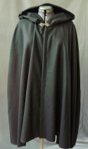 "Cloak:2548, Cloak Style:Full Circle Short Cloak, Cloak Color:Black, Fiber / Weave:Wool Flannel, Cloak Clasp:Antiquity, Hood Lining:Unlined, Back Length:33"", Neck Length:22"", Seasons:Spring, Summer, Fall."