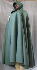 "Cloak:2558, Cloak Style:Full Circle Cloak, Cloak Color:Hunter Green, Fiber / Weave:Wool Melton, Cloak Clasp:Triple Medallion, Hood Lining:Unlined, Back Length:54"", Neck Length:26"", Seasons:Fall, Winter, Spring."