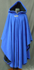 Cloak:2567, Cloak Style:Cape / Ruana extra long (30&quot;) over the shoulder, Cloak Color:Royal Blue / Black 2 toned, Fiber / Weave:Windblock Polar Fleece, Cloak Clasp:Triple Medallion, Hood Lining:Self-lining, Back Length:48&quot;, Neck Length:24&quot;, Seasons:Winter, Fall, Spring, Note:A cross between a cape and a cloak, a ruana<br>is a great way to keep warm while<br>frequent, unhindered use of your arms <br>is needed. Ruanas make great driving cloaks!<br>This one is made from windblock polar fleece<br> which is both wind proof and water resistant.<br>Machine washable on gentle and tumble dry low inside out..